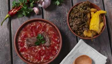 Traditional Georgian soup Kharcho with meat and rice