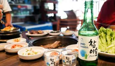 People eating and drinking in Korean restaurant