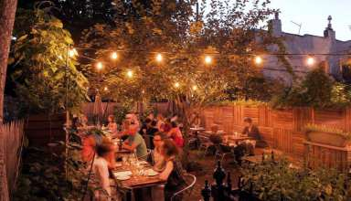 People sitting in beer garden in Faun