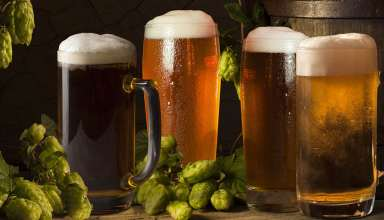 Celebrating craft beer in California - craft beer in pint glasses lined up