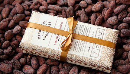 Three exquisitely packaged chocolates from Dandelion Chocolate