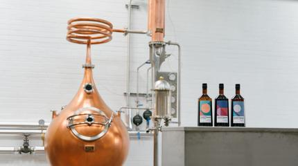 The Sweetdram brewery and bottles of the three drinks they produce