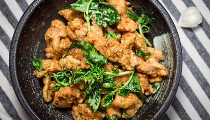 Taiwanese fired chicken with basil