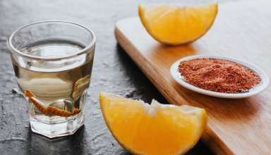 Mezcal with chilli salt and agave worm
