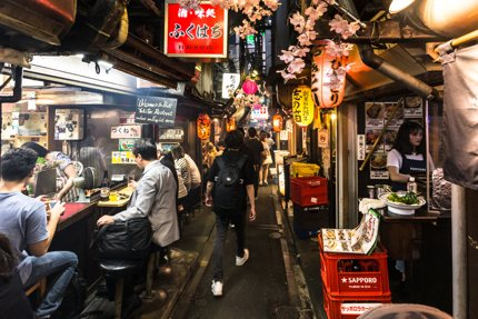 An alley with many yakitori bars in Omoide Yokocho