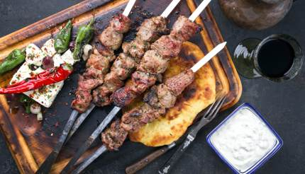 Souvlaki with feta and pita