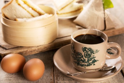 Kopi is often enjoyed with egg and toast in Singapore & Malaysia