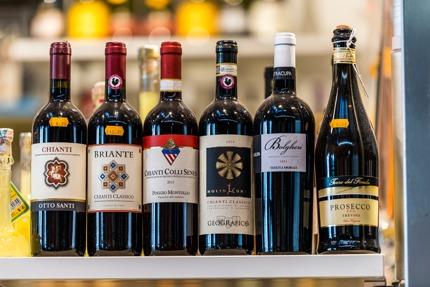 Bottles of Italian wine