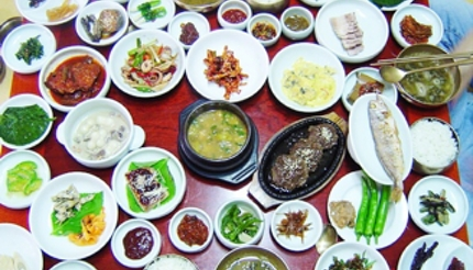 A vast selection of banchan