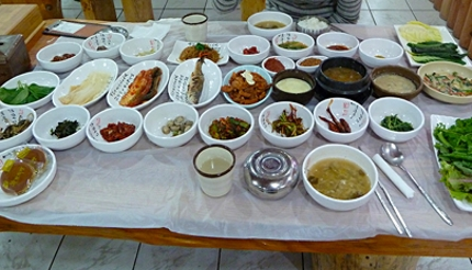 Korean Ssambap and many banchan (Photo Paul Stafford)